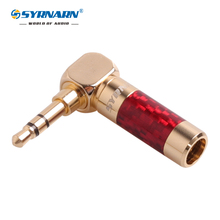 1pcs SYRNARN Carbon Fiber Gold  Plated 3.5mm 3 Pole Right Angle L Stereo Male Plug Audio Jack Connector for Fever upgrade repair 50pcs gold plated 3 5mm jack stereo audio mini jack plug right angle or straight connector carbon fiber diameter 6mm