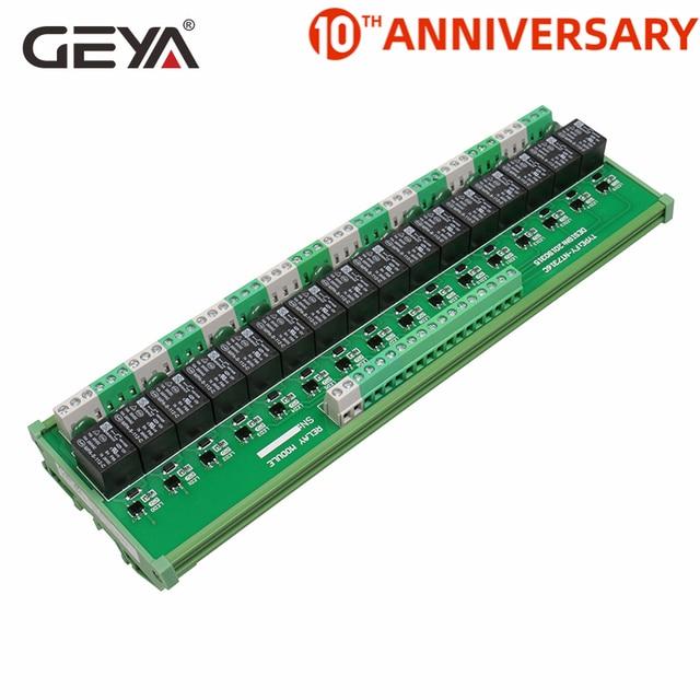 GEYA 16 مجموعة 1SPDT 1NC1NO وحدة التتابع ل التيار المتناوب تيار مستمر 5 فولت 12 فولت 24 فولت PLC التتابع