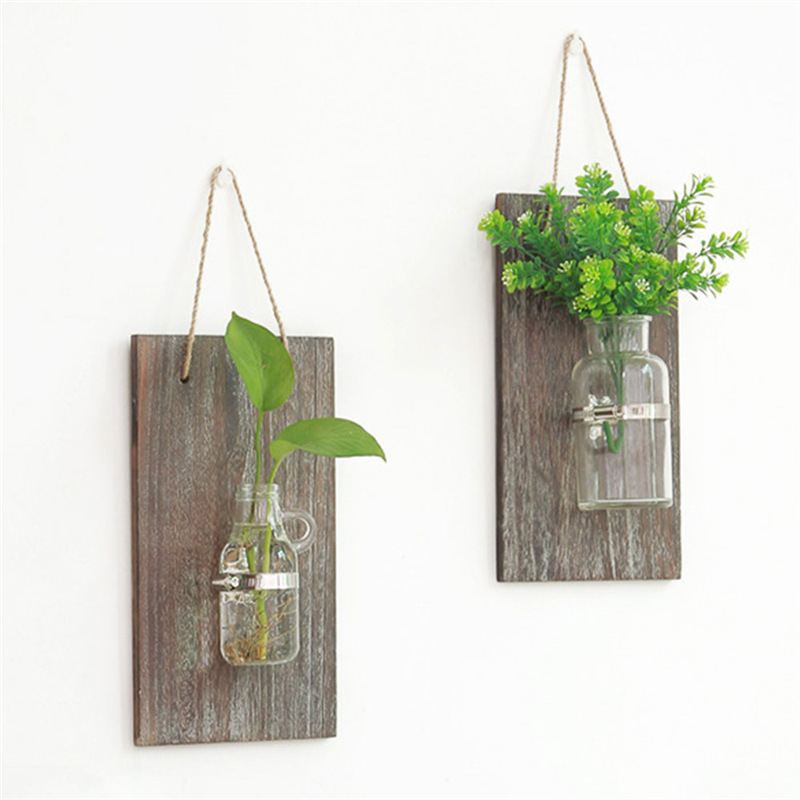 Hydroponic Plant Glass Vase Pastoral Wall Hanging Wooden Flower Arrangement Floral Vase Light Home Balcony Decoration in Plaques Signs from Home Garden