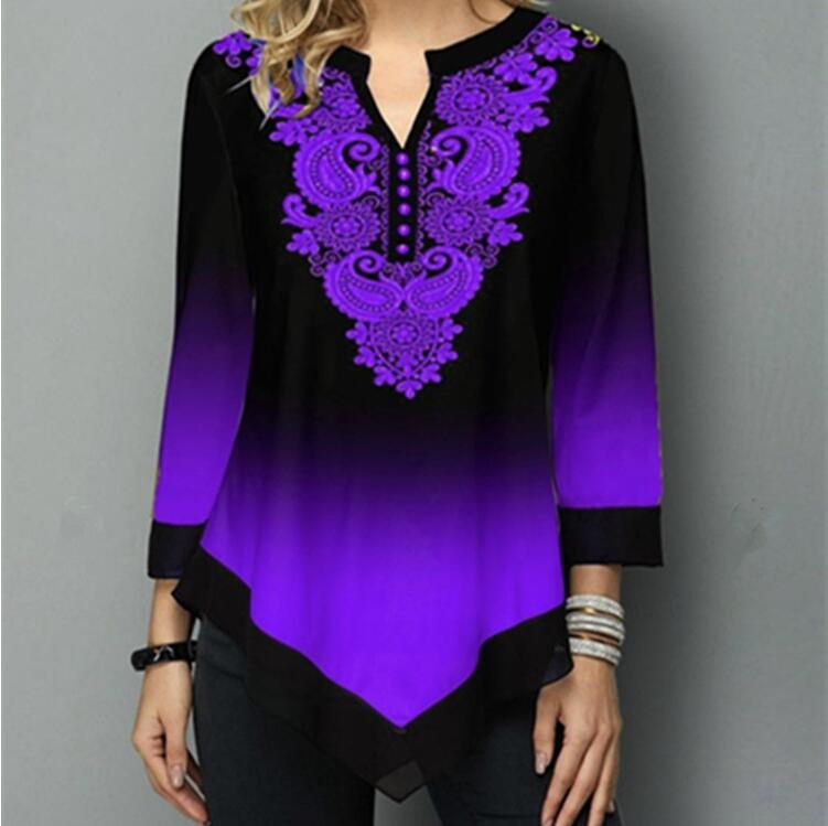 Vintage Print Women Blouse Shirt Long Sleeve V-neck Tops Shirts Casual Female Gradient Hem Blouses Ladies Plus Size Blusa