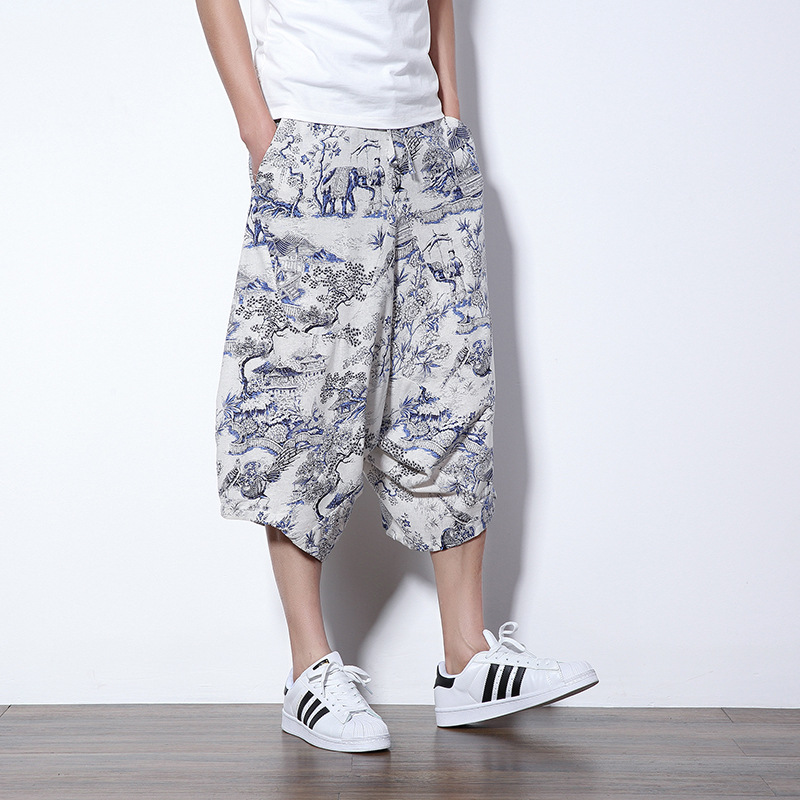 Summer New Style Teenager Men Casual Loose Cotton Linen Chinese-style Ethnic-Style Printed Harem Low-Grade Capri Pants