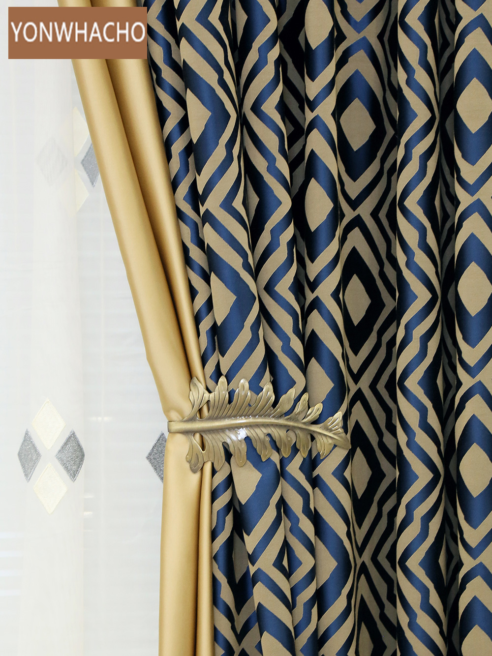 Custom Curtains High Quality Plaid Postmodern High-precision Jacquard Blue Thick Cloth Blackout Curtain Tulle Drapes B568