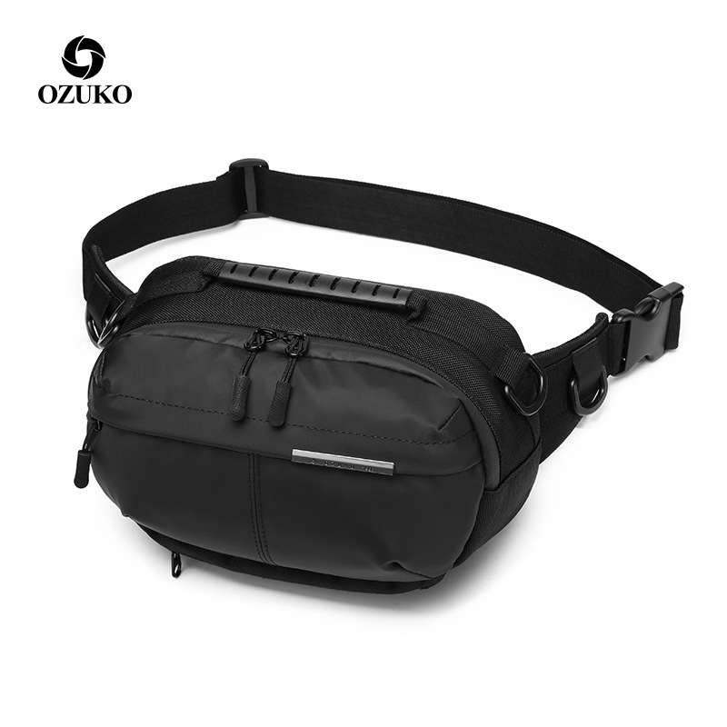 OZUKO Waist Bag Waterproof Men Fashion Chest Pack Male Outdoor Sports Crossbody Bag Short Travel Belt Fanny Pack For Phone Pouch