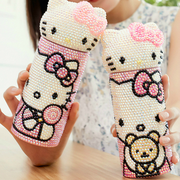 Handmade Rhinestone Cat Kitty Insulated Cup Diamond Stainless Steel Water Bottle Vacuum Flasks Hot Water Thermos Thermal Bottle