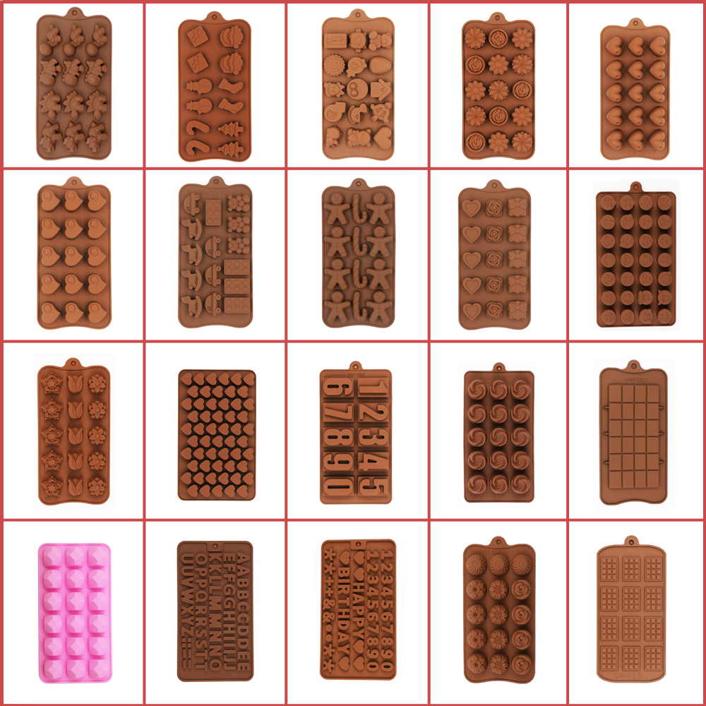 2021 New Silicone Chocolate Molds 29 Shapes 3D Cute Non-Stick Silicone Cake Baking Mold For Jelly Candy Chocolate Ice Kitchen