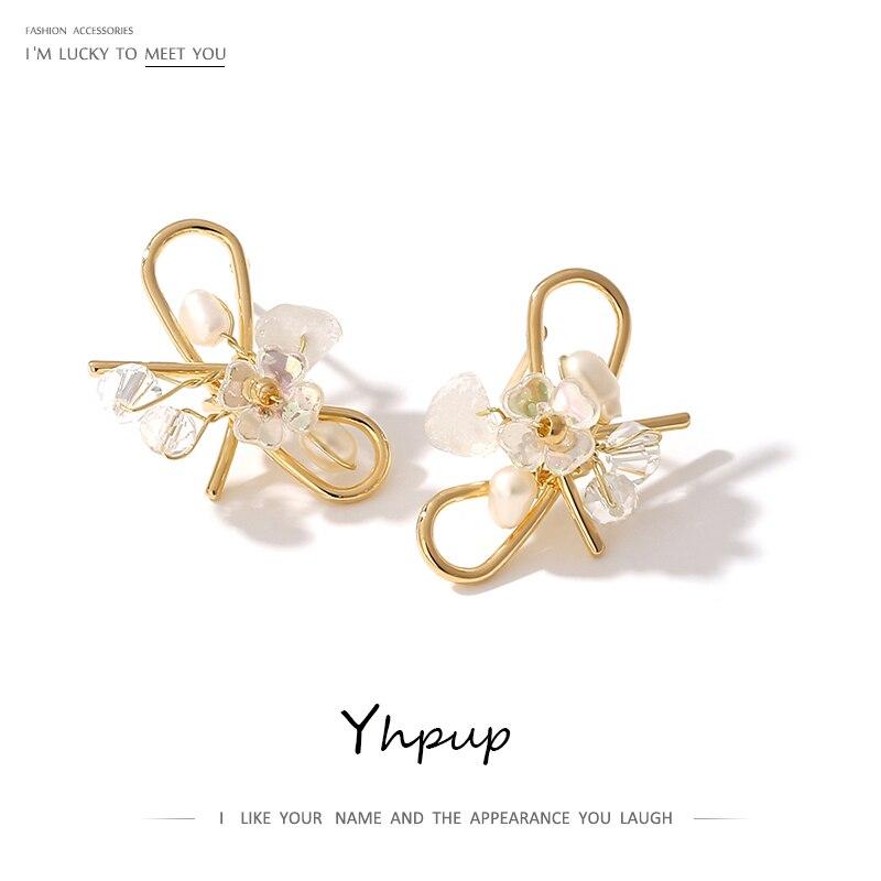 Yhpup Bowknot Hollow Stud Earrings Luxury Freshwater Pearls Crystal Jewelry Korean Delicate Geometric Earrings For Women брелок