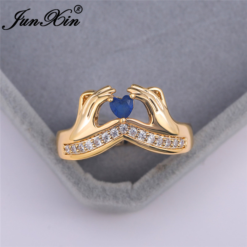 Royal Blue Love Heart Claddagh Rings For Women White Yellow Gold Purple Crystal Stone Wedding Bands Engagement Ring Jewelry CZ