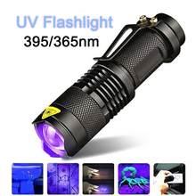 Latarka UV 365/395 nm LED latarka UV z funkcją zoomu Mini czarny detektor światła zewnętrzny akumulator