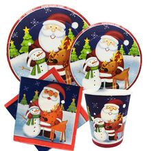 Omilut Christmas Santa Party Supplies Merry Birthday Disposable Set Plates Cups Napkins for Day