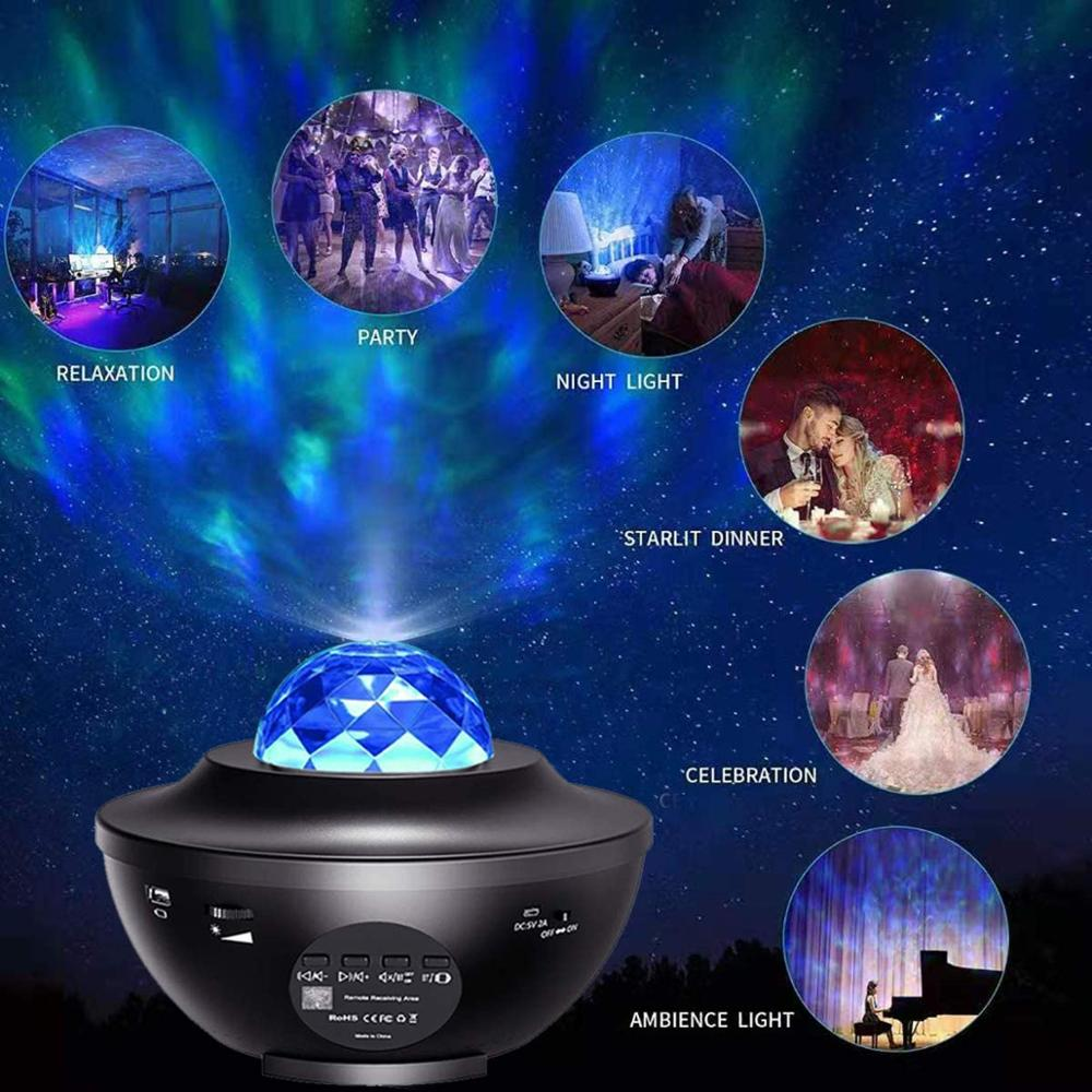 Laser Star Projector Light LED Night Light Projector Speaker Sound Sensor Lamp LED Starry Night Light Projector For Baby Room