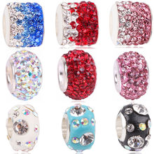 Couqcy 4 Rows Rhinestone Beads Fit For Pandora Charms Bracelet Round DIY Bead European Murano Czech Spacer Beads Love Charm(China)