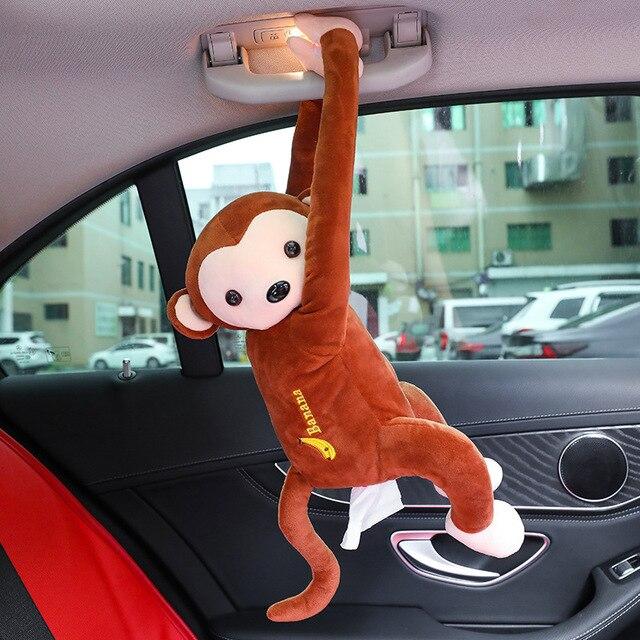 Kreatywna kreskówka małpa Home Office samochód do zawieszenia z papieru serwetka pudełko na chusteczki osłona z uchwytem przenośne pudełko papierowe