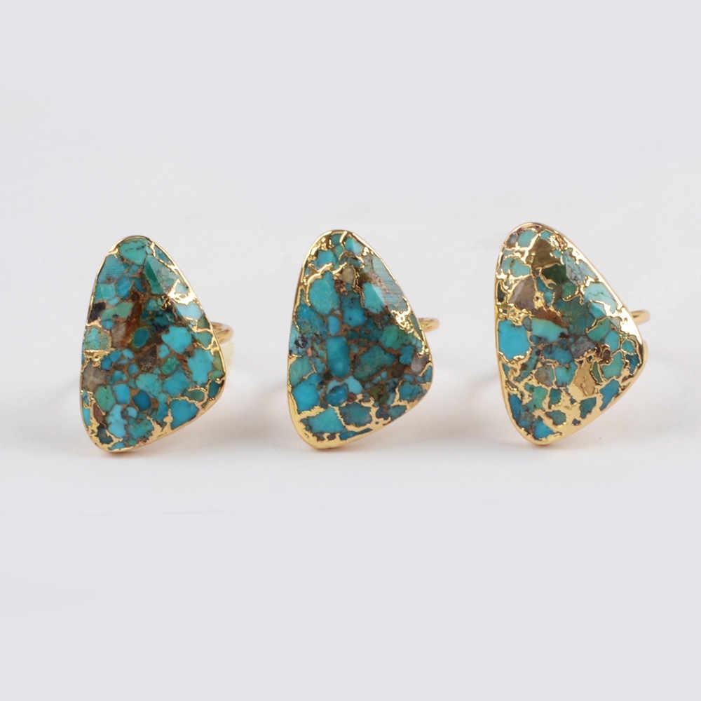 ธรรมชาติ Turquoises แหวนผู้หญิงทองคำขาวสาย Turquoises แหวนอัญมณีแหวนหินสำหรับผู้หญิง Dropshipping