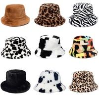Sombreros de piel sintética de leopardo de vaca para mujer, gorros de pescador peludos de terciopelo suave, cálidos, para exteriores, Panamá