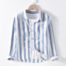 גברים אביב סתיו אופנה מותג פשתן ארוך שרוול נווה כחול פסים טלאים להנמיך צווארון מזדמן קלאסי זכר שיק חולצה