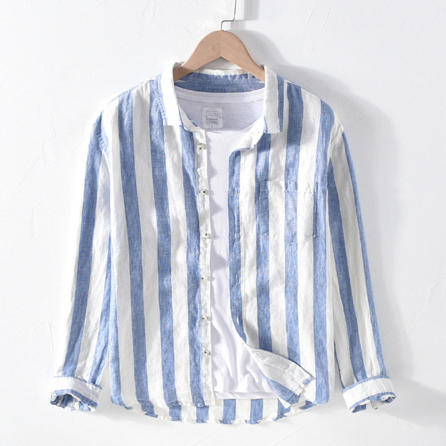 男性春の秋のファッションブランドリネン長袖身廊ブルーストライプパッチワークターンダウン襟カジュアル古典的な男性のシックなシャツ