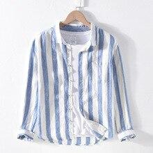 Homens primavera outono moda marca de linho manga longa nave azul listrado retalhos turn down collar casual clássico masculino chique camisa