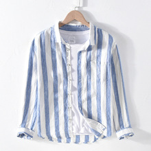 Men Spring Autumn Fashion Brand Linen Long Sleeve Nave Blue Striped Patchwork Turn Down Collar Casual Classical Male Chic Shirt