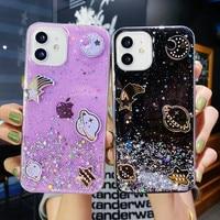 Custodia per telefono Planet con Glitter trasparenti per Samsung S21 Ultra S20 FE S10 S9 S8 Plus S10E nota 20 10 9 8 stelle Cover posteriore in Silicone morbido