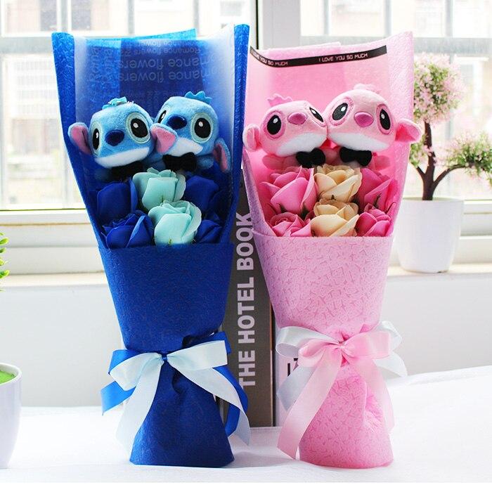 Kawaii Cartoon Lilo Stitch Plush Doll Toys Cute Stich Bouquet With Fake...