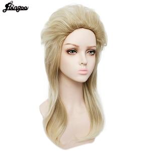 Image 2 - Ebingoo 70s 80s Halloween Costume Retro Rocking Punk Metal Disco Mullet Synthetic Cosplay Wig Women Long Straight Blonde Wig