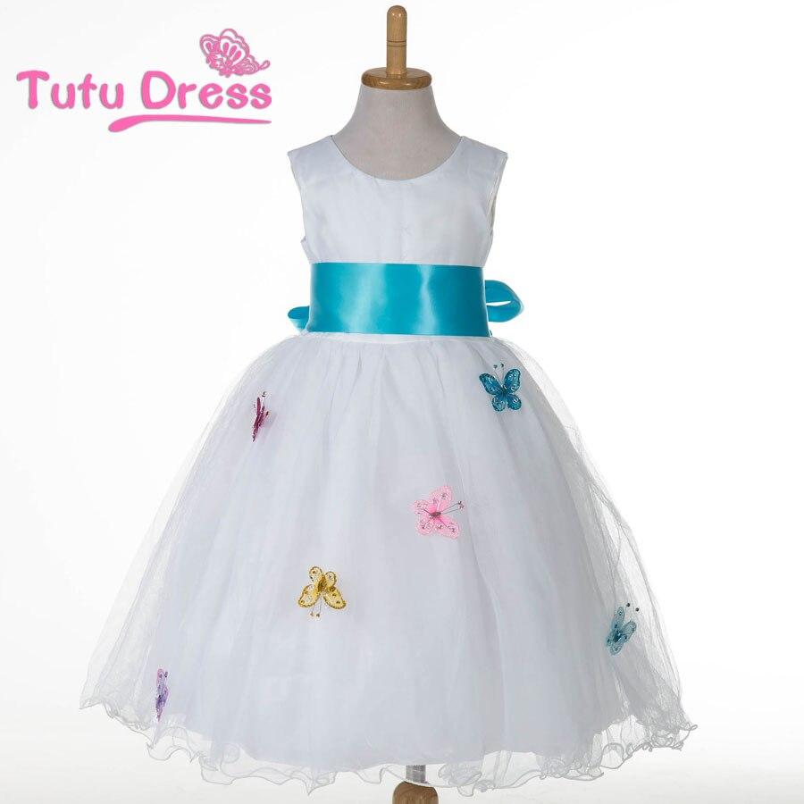 Vit flickaklänning Fjäril Ribbon Bow Tutu Klänning Prinsessa Tulle Barnflickakläder Partyklänning för flickor 2-12år