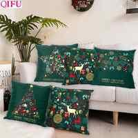 Weihnachten Grün Schwarz Baumwolle Heißer Stanzen Kissenbezug Weihnachten Dekor für Home 2019 Weihnachten Party Decor Kerst Neue Jahr 2020
