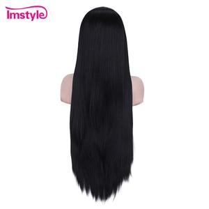 Image 3 - Imstyle黒かつらロング合成レースの前部かつらストレート自然な髪のかつら女性耐熱繊維コスプレかつら
