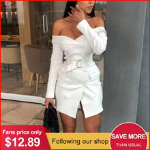 Glamaker Sexy white off shoulder belt blazer dress Women party long sleeve bodycon dress Fashion elegant club female short dress(China)