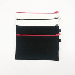 Image 2 - 10 sztuk puste płótno Zipper piórniki Pen woreczki bawełniane torby kosmetyczne torebki na makijaż telefon komórkowy kopertówka z organizerem