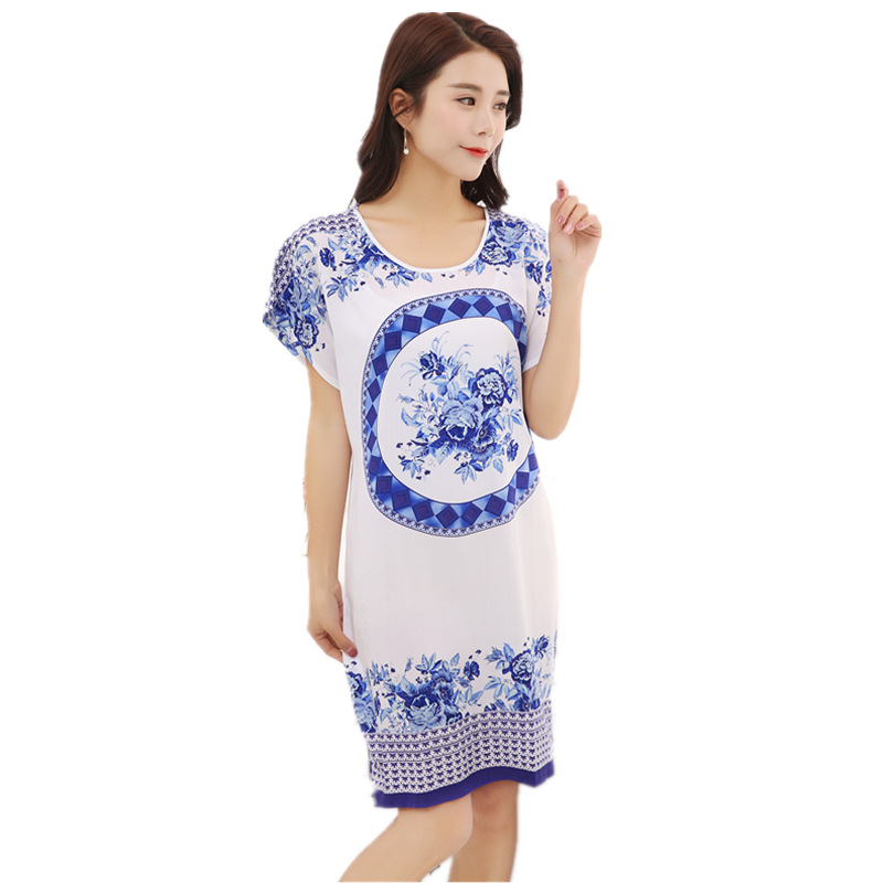 Summer New Style Crew Neck Spray-print Blue And White Porcelain Cotton Nightgown Short Sleeve Lace-up Nightgown Tracksuit Manufa