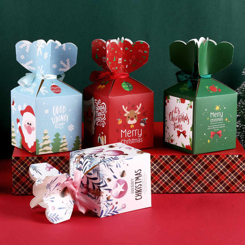 Creative Cartoon Christmas Eve Apple Gift Box Beautifully Folded Colorful Cupcakes Dessert Cookies Candy Gift Packaging Box