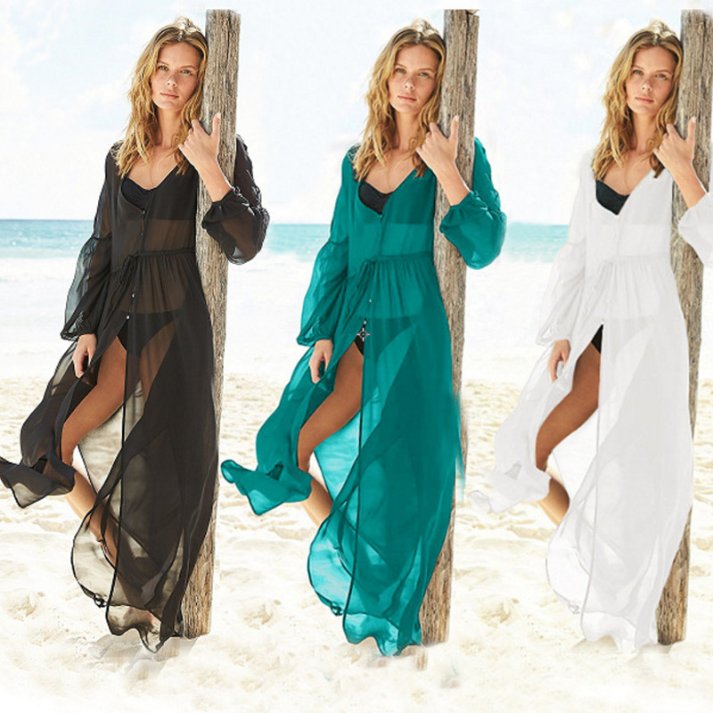 European And American-Style Chiffon Fairy Dress Seaside Resort-Beach Cardigan Jacket Women's Bikini Cover-up Coat