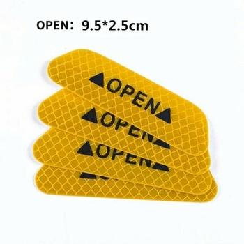 4 sztuk zestaw naklejki drzwi samochodu uniwersalny ostrzeżenie o bezpieczeństwie znak otwarty wysokiej taśma odblaskowa motocykl motor kask naklejki tanie i dobre opinie Car Door Stickers Universal Safety Warning Mark OPEN High Reflective T