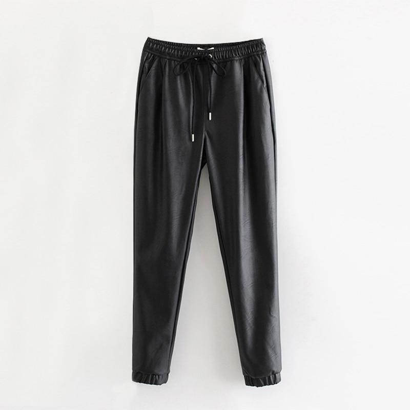Women Black Chic PU Leather Pants Elastic Waist Long Length Elegant Bottoms Drawstring Tie Pockets Basic Female Trousers XS-XL