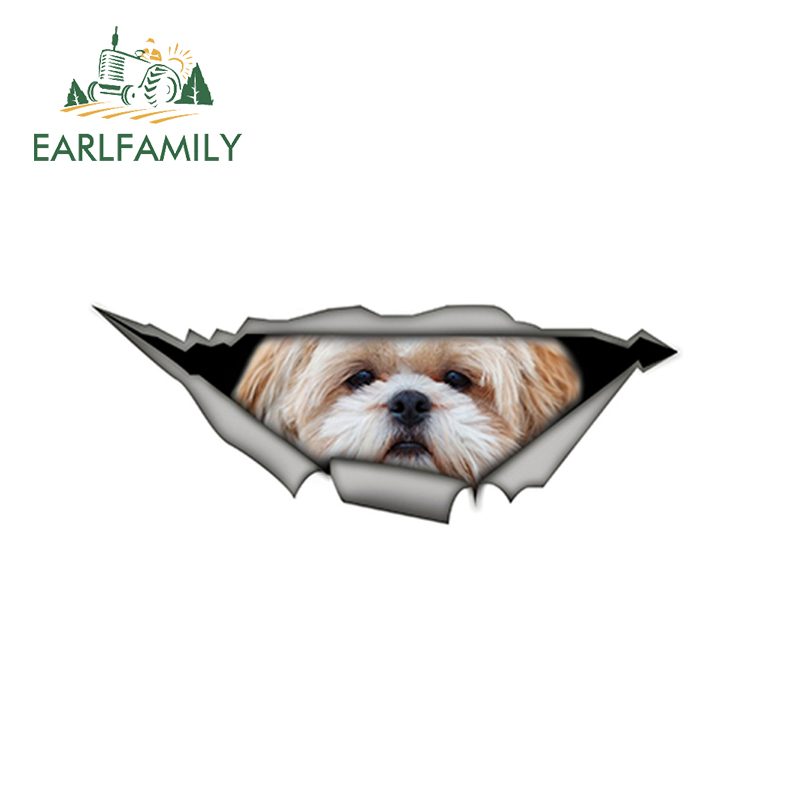 EARLFAMILY 15cm X 6cm Shih Tzu 3D Car Sticker Funny Pet Dog Decal Creative Modified Stickers Waterproof Car Styling Decoration