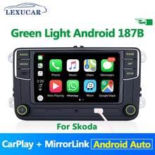 Botão verde Luz Verde Android Do Menu Auto Carplay Noname RCD330 RCD330G Plus Para Skoda Octavia Fabia Superb Yeti 6RD 035 187B