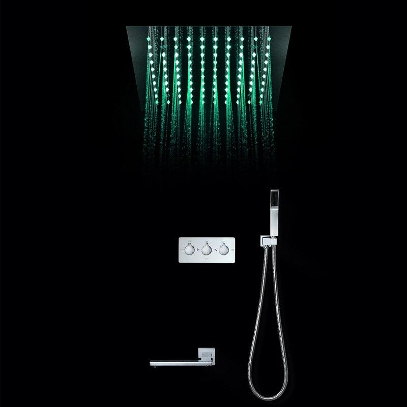 Lumière LED de luxe pluie 304 SUS pomme de douche 30cm encastré plafond monté en laiton robinets de douche ensemble bec robinet baignoire robinets