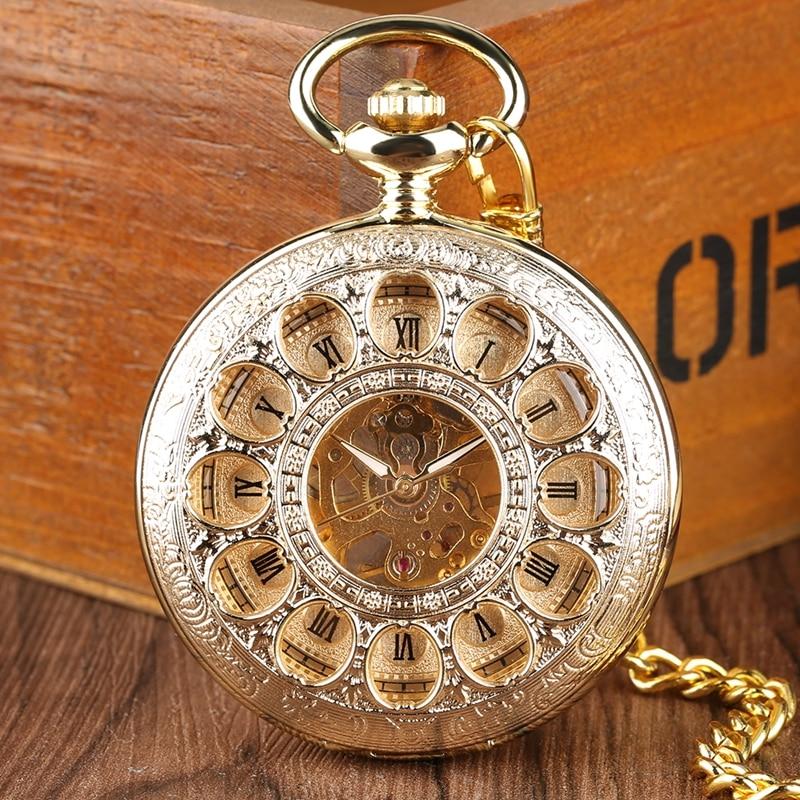 Luxury Gold Mechanical Pocket Watch Hollow Skeleton Hand Winding Stainless Steel Pendant Watch Chain Jewelry Clock For Men Women