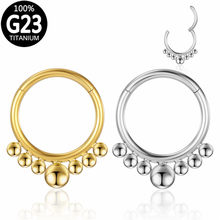 G23 Titanium 16g Nose Ring Hinged Segment Daith Helix Earring Septum Clicker Labret Ear Tragus Cartilage Stud Piercing Jewelry