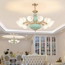 купить LED Light Modern Ceramic Pendant Lamps American Gold Pendant Lights Fixture Hanging Lamp Hotel Hall Lobby Home Indoor Lighting дешево