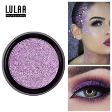 LULAA Fashion Glitter Eyeshadow Shimmer Soft Shadows Single Color Palette Of Shadows Waterproof Beauty Cosmetics With 2 Brushes silver shadows