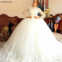 Vintage 2019 Gorgeous Illustion Long Sleeve Ball Gown Wedding Dresses Applique Lace Puffy Tulle Bridal Gowns