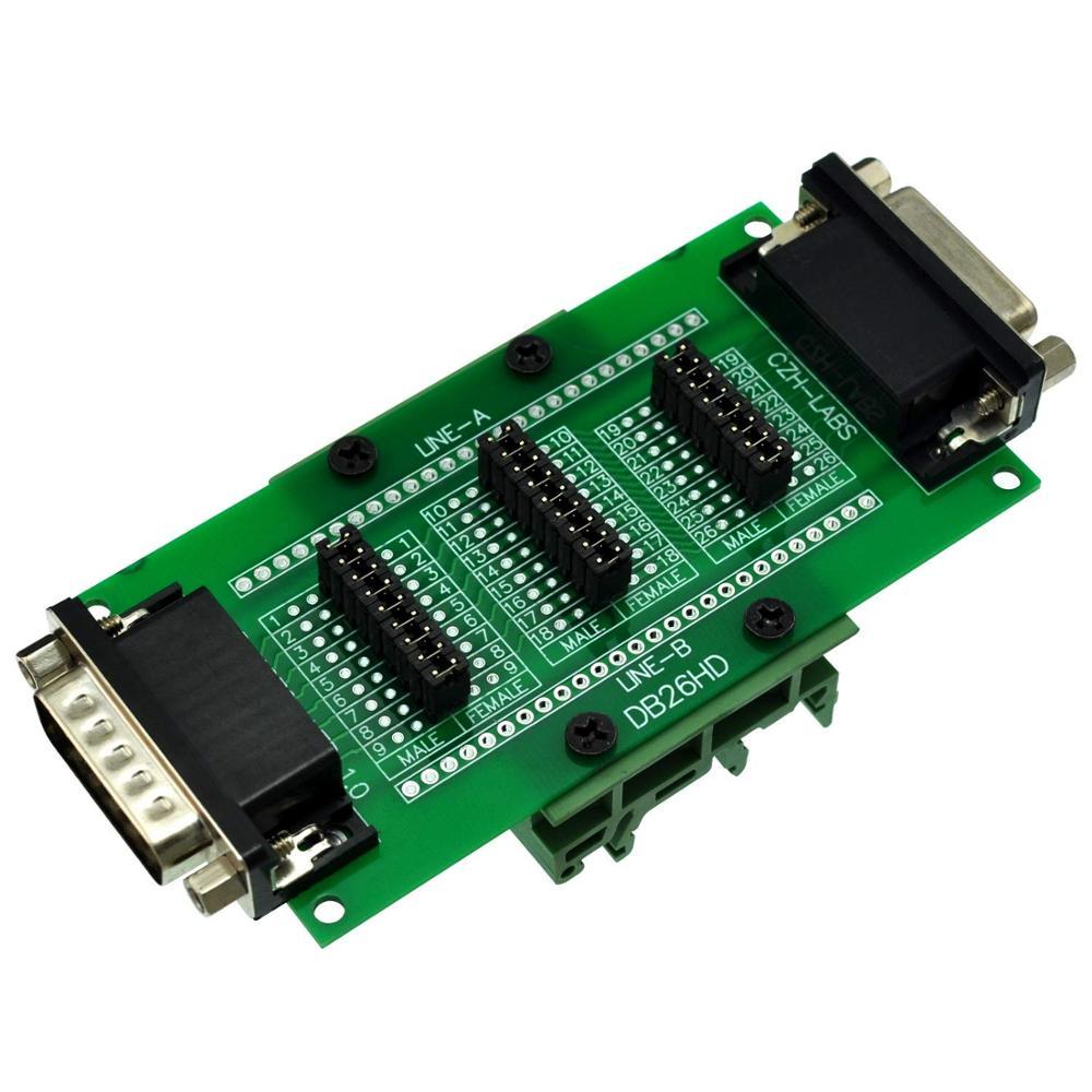 CZH-LABS DIN Rail Mount D'sub DB26HD Diagnostic Test Breakout Board, DSUB DB26HD Connector Male To Female.