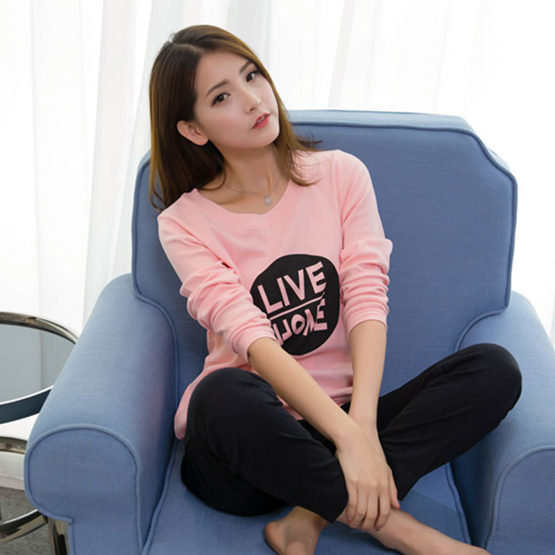 Casual Sports Pajamas Women's Long Sleeve Spring And Autumn Pink Circle Lettered Black Pajamas Ladies Home Leisure Suit