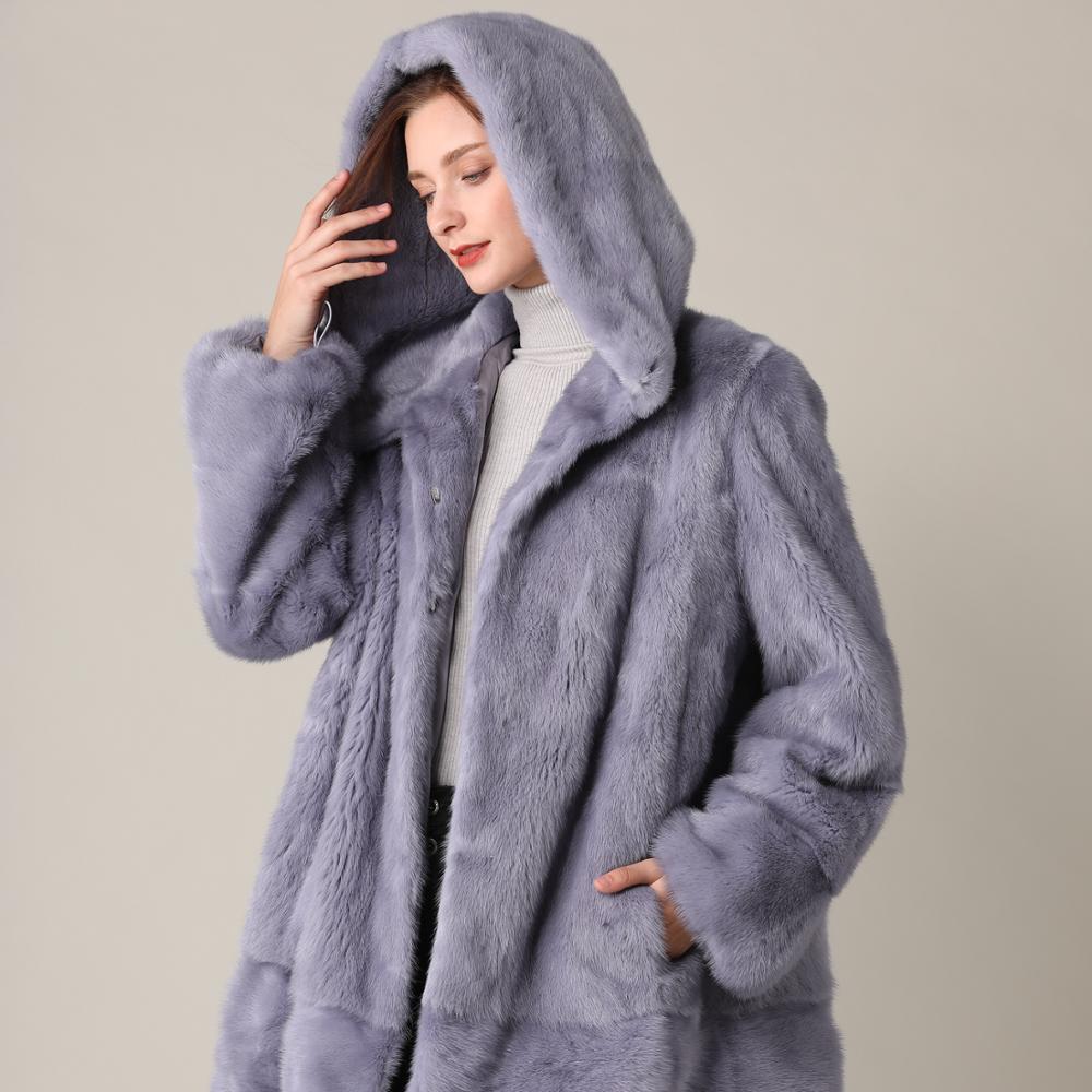 Bleu réel vison fourrure manteau hiver longue fourrure naturelle vison manteaux veste transformateur chaud femmes vison vêtements 2019 Vintage grande taille