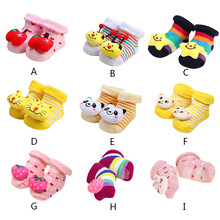 1 Pair Cute Baby Socks Cartoon Newborn Girls Boys Anti-Slip Slipper Shoes Boots