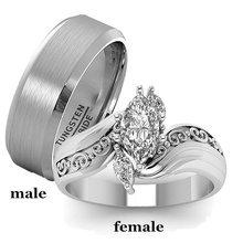 His & Her Stainless Steel Promise Rings 1.85 Ct Marquise Cz Cubic Zirconia Bridal Engagement Ring & Men Wedding Band