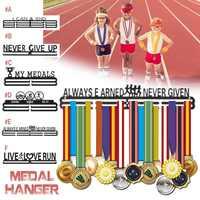 Perchero KIWARM con 6 estilos de medallas inspiradoras, estante de exhibición de Metal deportivo, soporte de medallas para 30-45 medallas, decoración de pared para el hogar