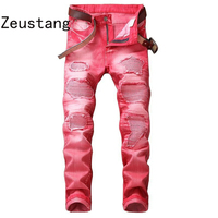 (No Belt) 2020 Spring Punk Style Men's Jeans Fashion Casual New Straight High Elasticity 29 42 Washed Ripped Hole Trousers JS08